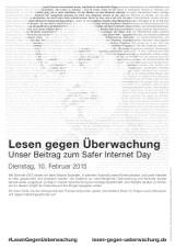 Lesen gegen Überwachung - Plakat mit freier Fläche